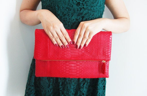 Image of Neon Red Fold Over Python Snakeskin Zippered Leather Clutch