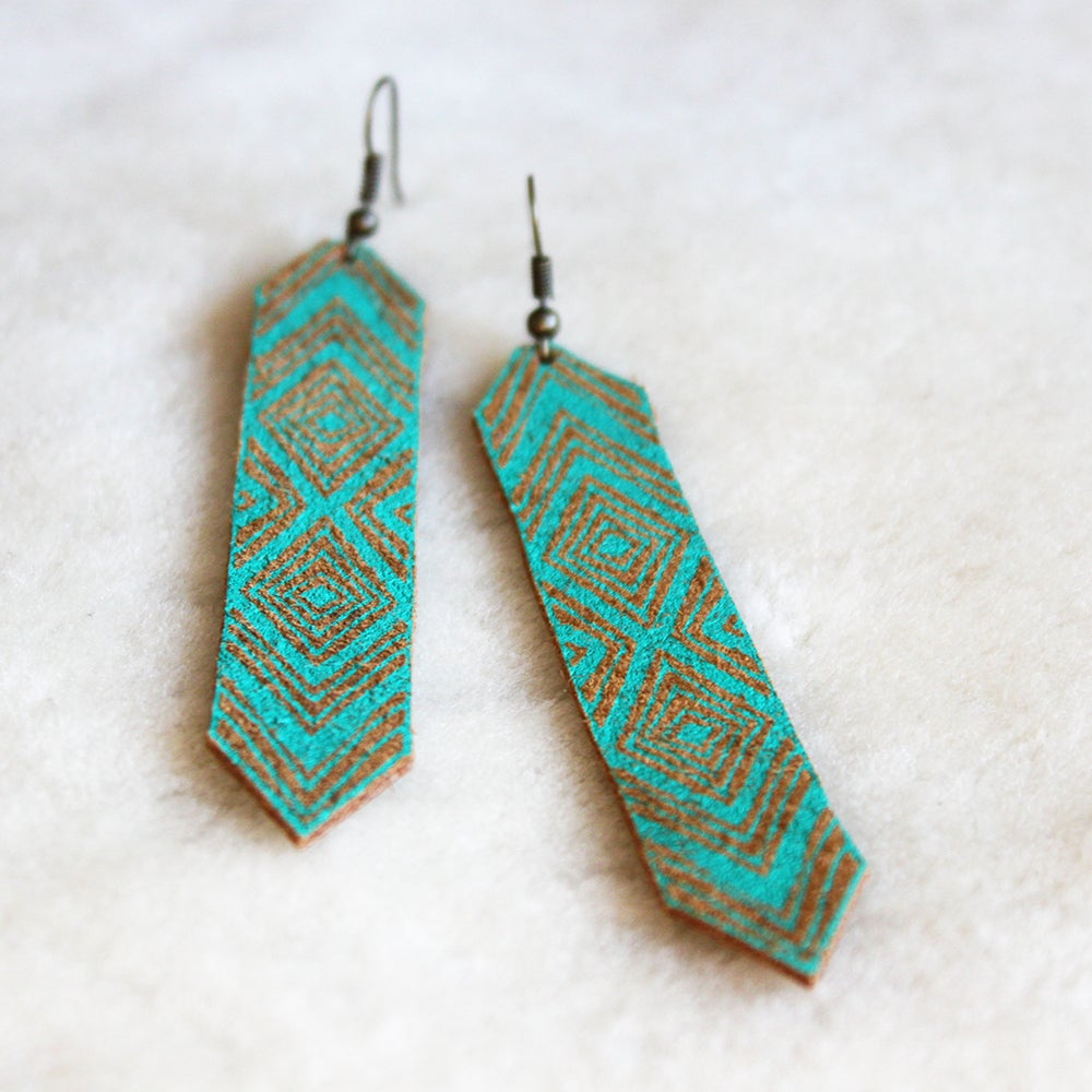 Image of Friendship Earrings in tan and turquoise