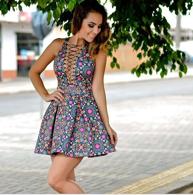 Image of Printed with sling sleeveless dresses