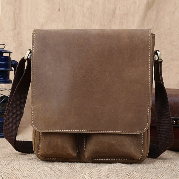 Image of Handmade Superior Crazy Horse Leather Messenger Bag Satchel / iPad Bag (n51)