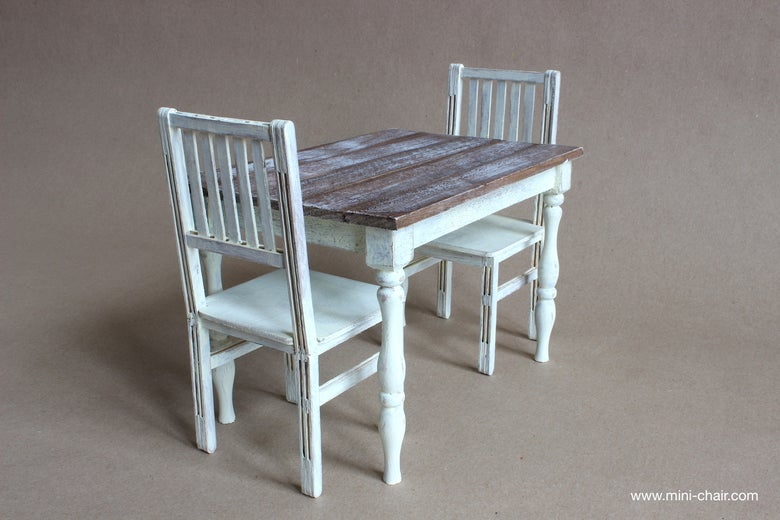 Image of 1/6 scale Table and 2 Chairs Dining Farmhouse furniture for dolls (Blythe, Barbie, Momoko)