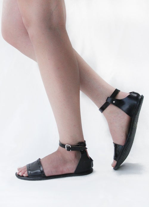 Image of Sandals - Cut Here in Black