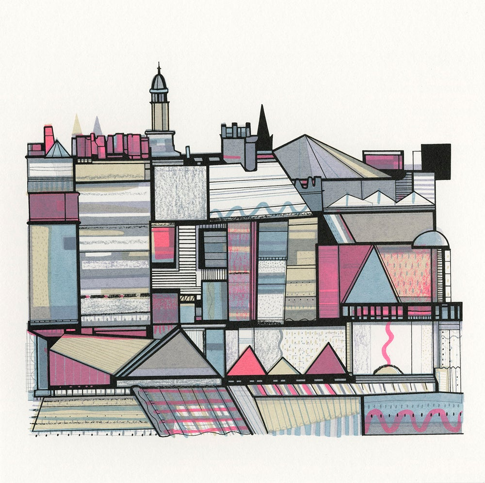Image of Colourful Rooftops II screenprint