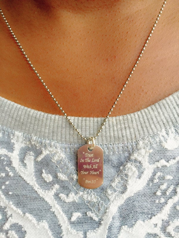 Image of Sterling Silver Proverbs 3:5 Women's Dog Tag