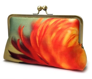 Clutch bag, printed silk purse, orange yellow handbag, FLAME FLOWER - Red Ruby Rose