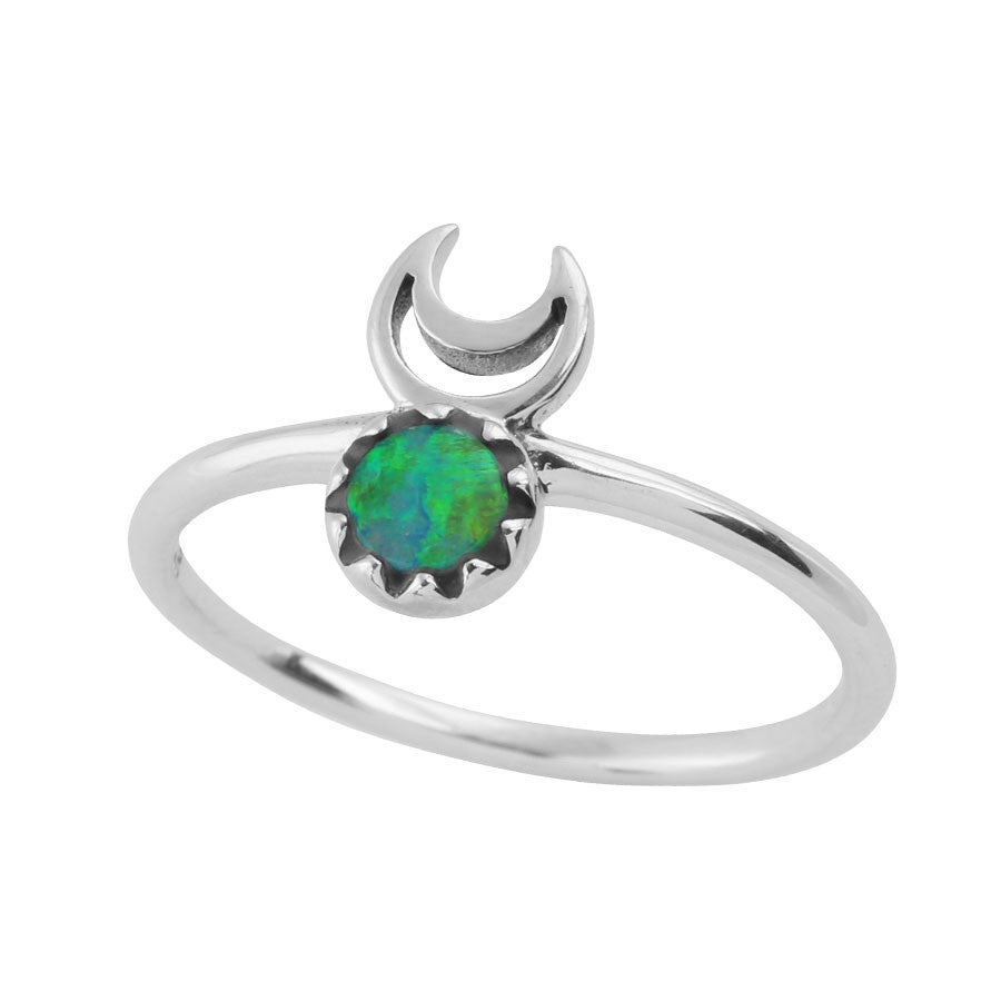 Image of Sterling Silver & Opal Moons Eclipse Ring.