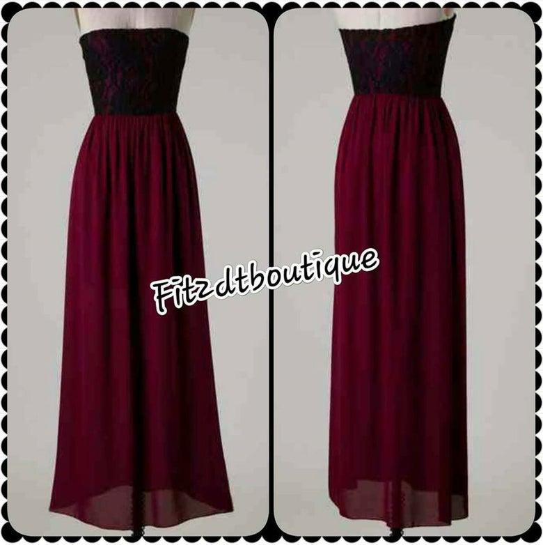 Image of Chiffon and Lace Stapless Dress