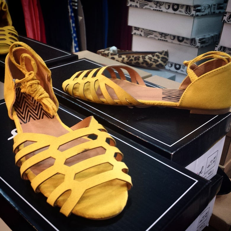 Image of Mustard open toe leg wraps