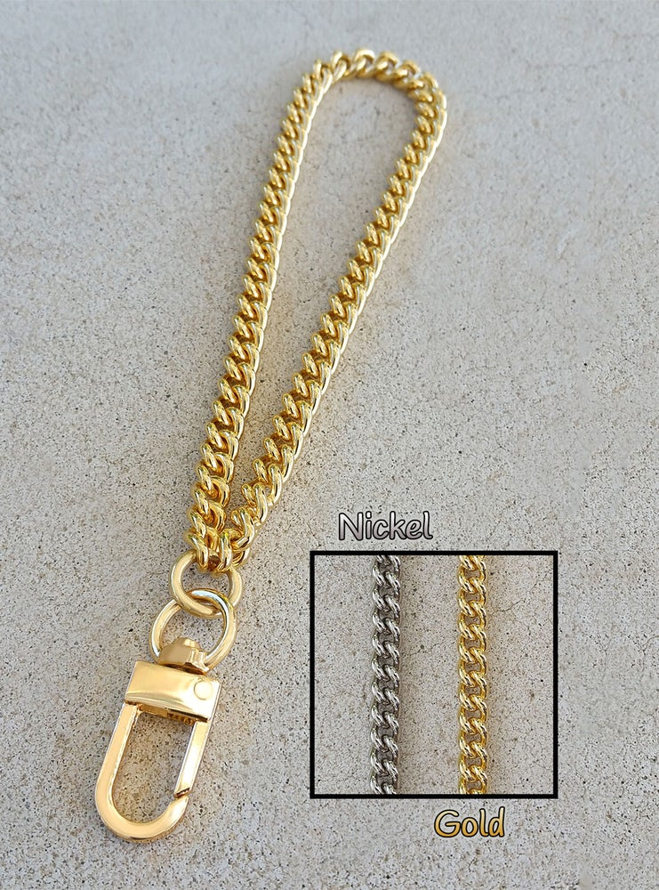"""Image of GOLD or NICKEL Chain Wrist Strap - Mini Classy Curb Chain - 1/4"""" Wide - Choose Size & Hook Style"""