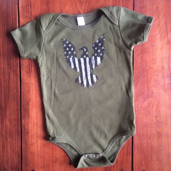 Image of Baby Eagle Pride Onesie in Military Green