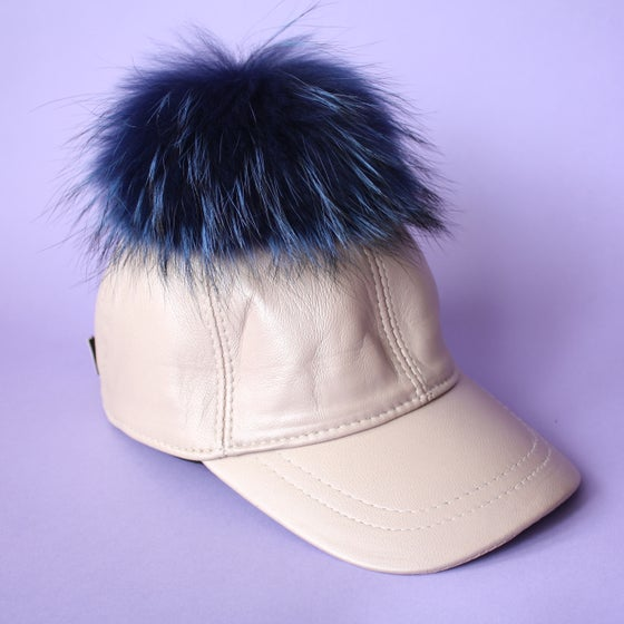 Image of Cream Leather Single Pom *Blue*