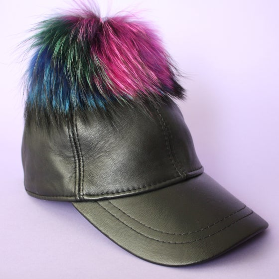 Image of Black Leather Single Pom *Multicolour Mix*