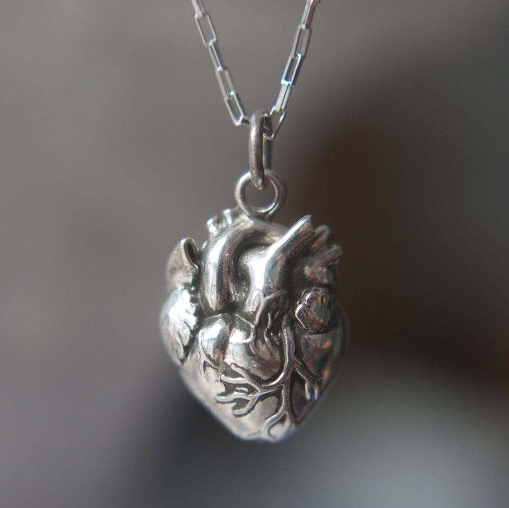 Image of Lacey Back Anatomical Heart Necklace