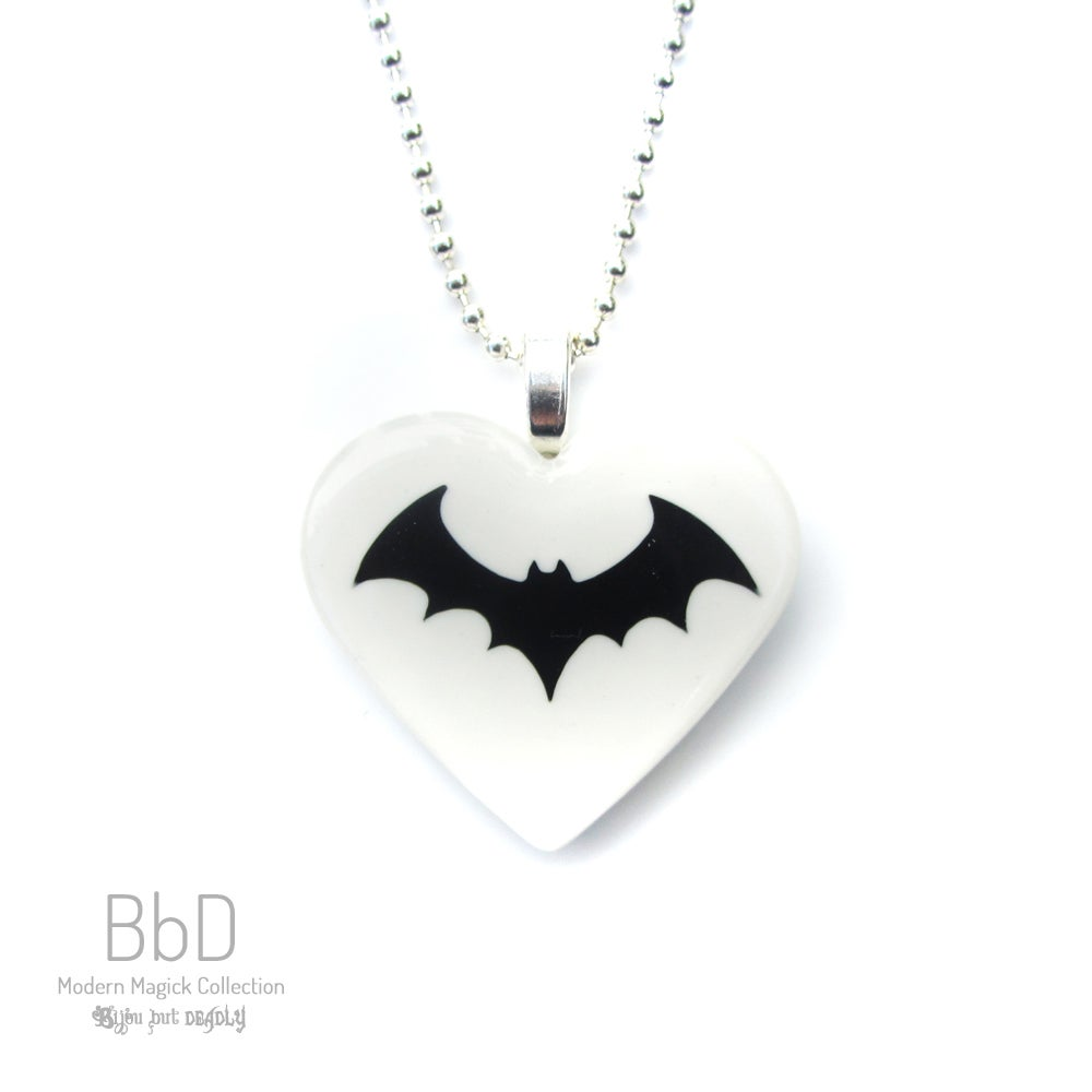 Image of Heart and Bat Resin Pendant