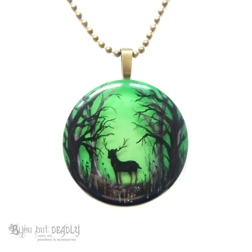 Image of Stag in Enchanted Forest Pendant