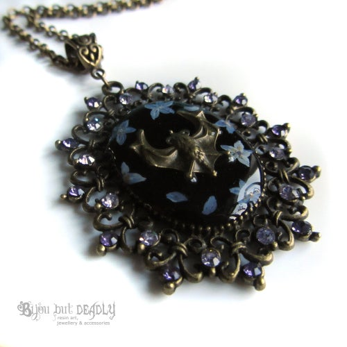 Image of Forget-me-not Bat Cameo Necklace