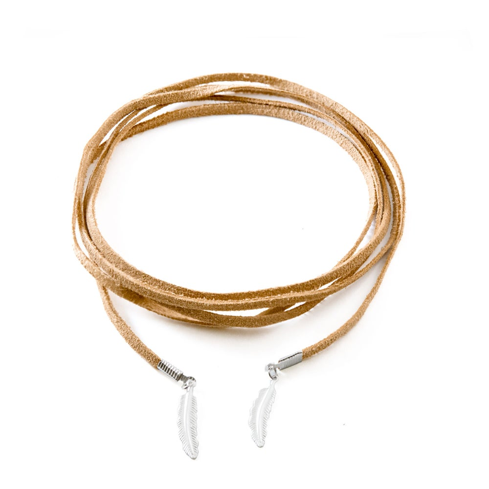 Image of Laila Feather Neck Wrap - Tan