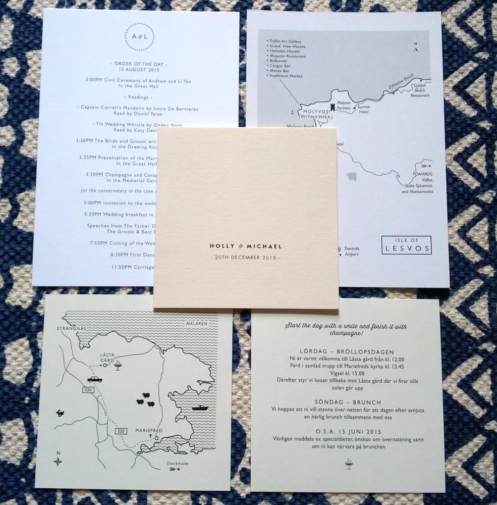 Image of SAMPLES // Wedding Information Cards, Menus, Maps (digital print)