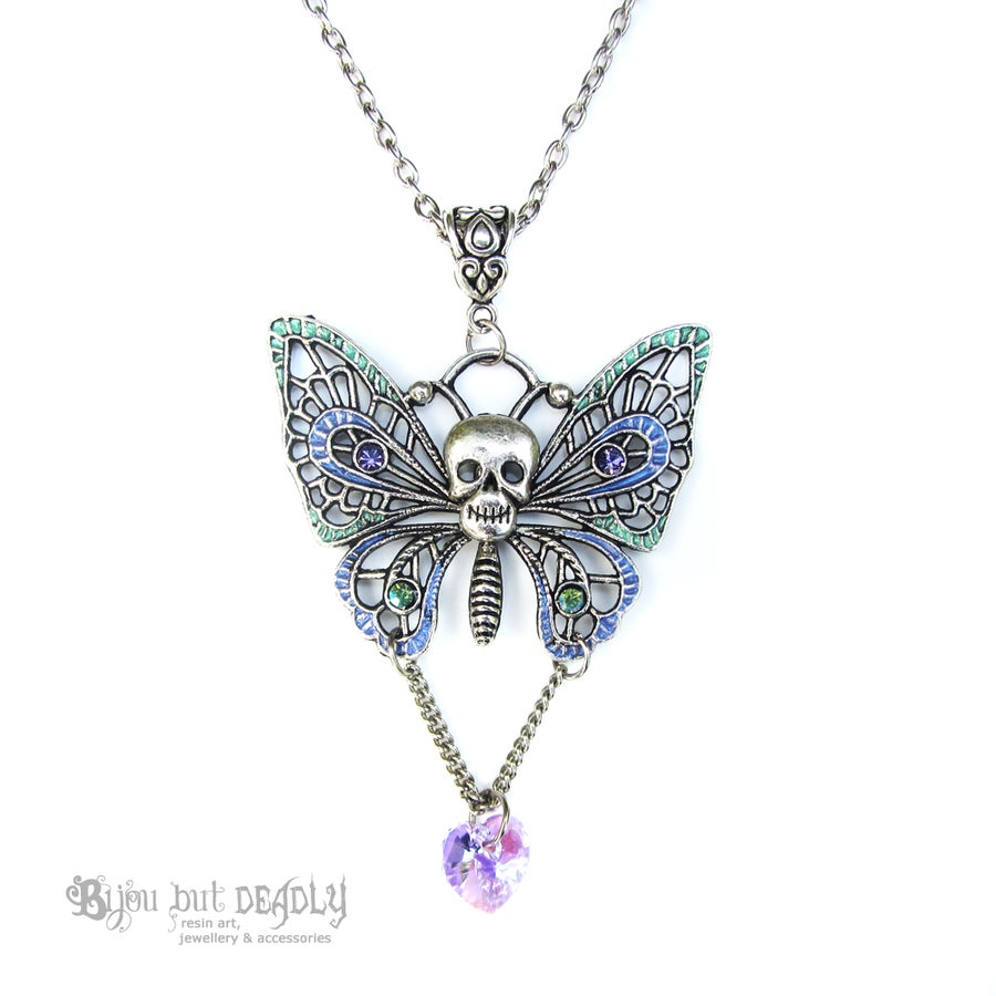 Image of Silver Filigree Skull Butterfly Necklace