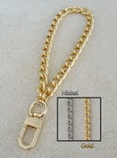 "Image of GOLD or NICKEL Chain Wrist Strap - Classy Curb Chain - 3/8"" (9mm) Wide - Choose Size & Hook Style"