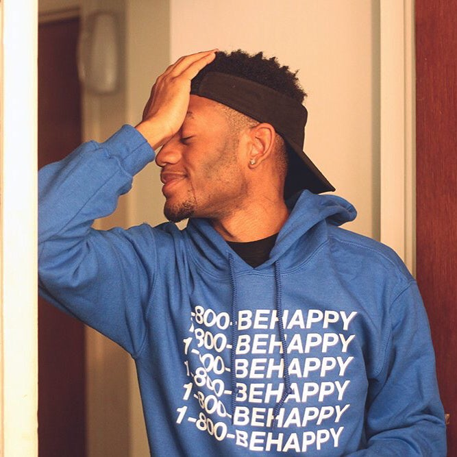 Image of Blue 1-800-BEHAPPY Hoodie