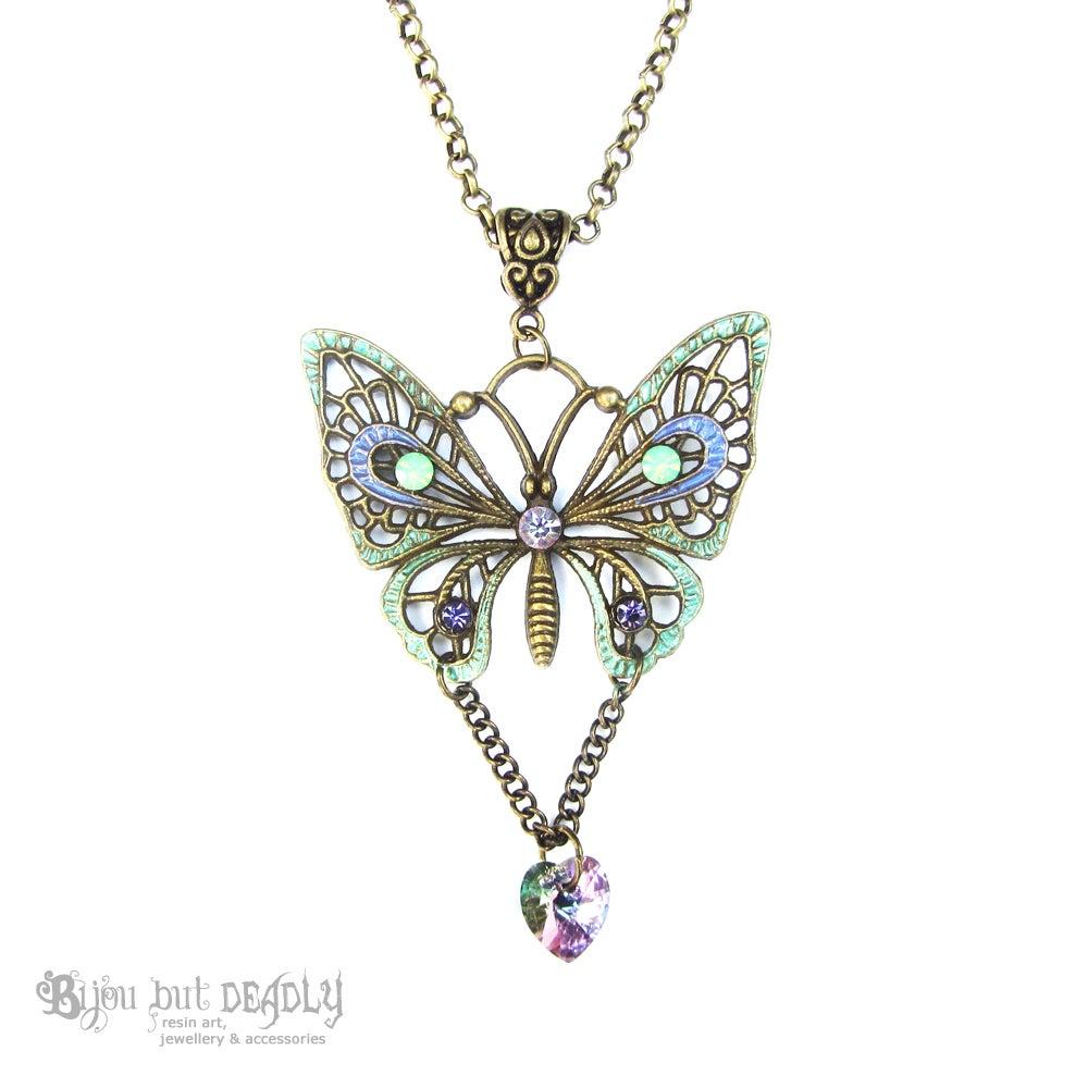 Image of Swarovski Butterfly Necklace Bronze