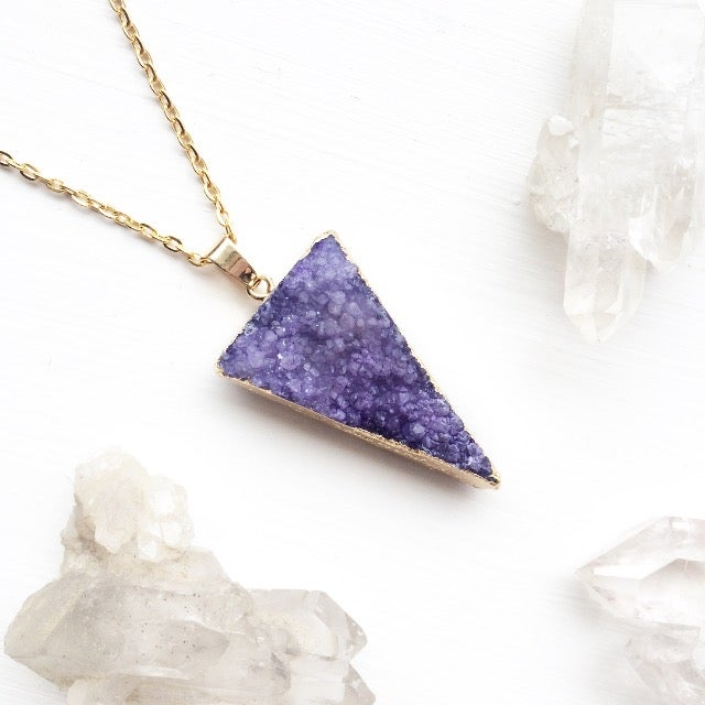 Image of Purple Triangle Druzy Necklace