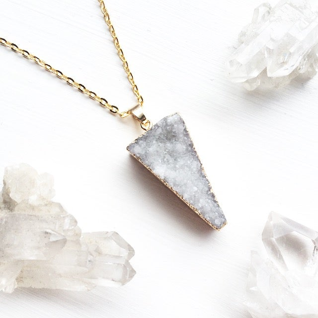 Image of White Triangle Druzy Necklace