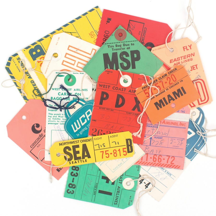 Image of 14 Vintage Luggage Tags - Mixed