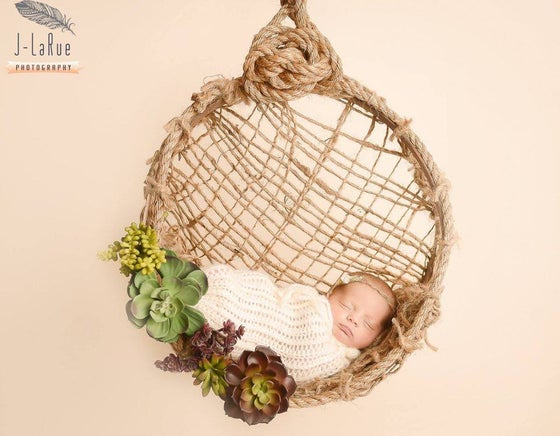 Image of Woodsy Wonders Chunky Newborn Hammock with Jute Back & Barn Rope