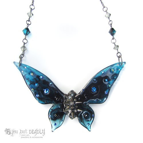 Image of Navy, Teal & Black Spiked Butterfly Necklace - Large