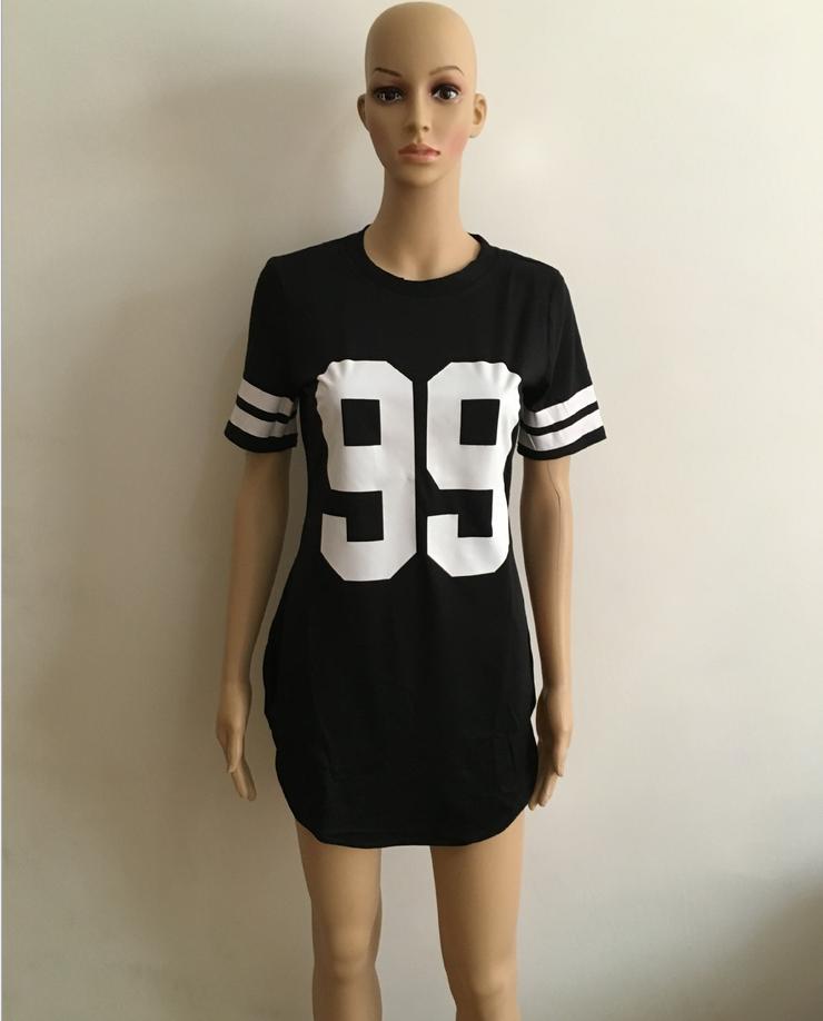 Image of Fashion digital short-sleeved dress