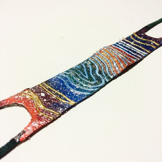 Image of Abstract Hand Painted Leather Wristwear