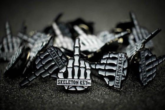Image of SKELETON KEY MFG ENAMEL MIDDLE FINGER PINS