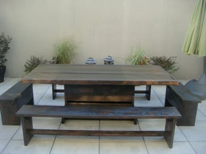 Image of 8' PATIO SET / OUTDOOR DINING TABLE WITH BENCHES