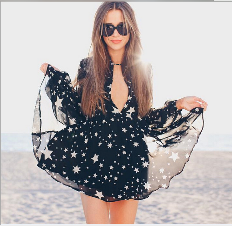 Image of Sexy v-neck long-sleeve stars printed chiffon skirt