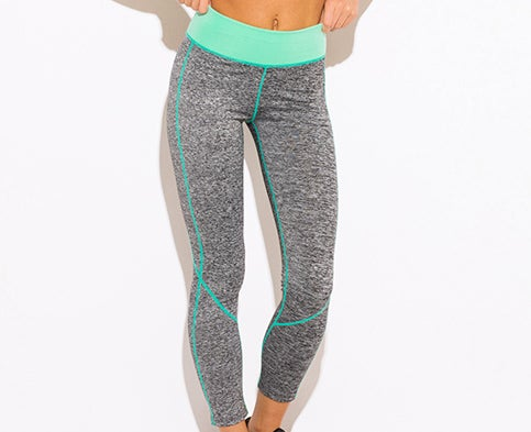 Image of CCC MINT GREEN AND GREY HIGH WAISTED LEGGINGS