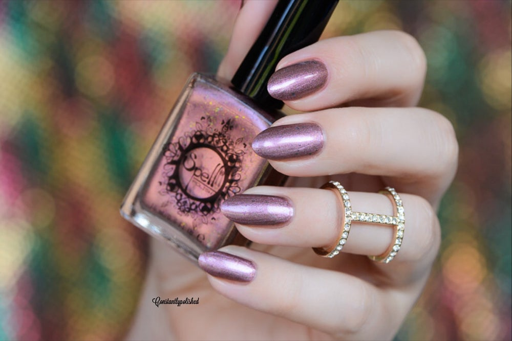 """Image of ~Pettifogger~ plum chrome w/multichrome flakes Spell nail polish """"Revenge of the Duds""""!"""