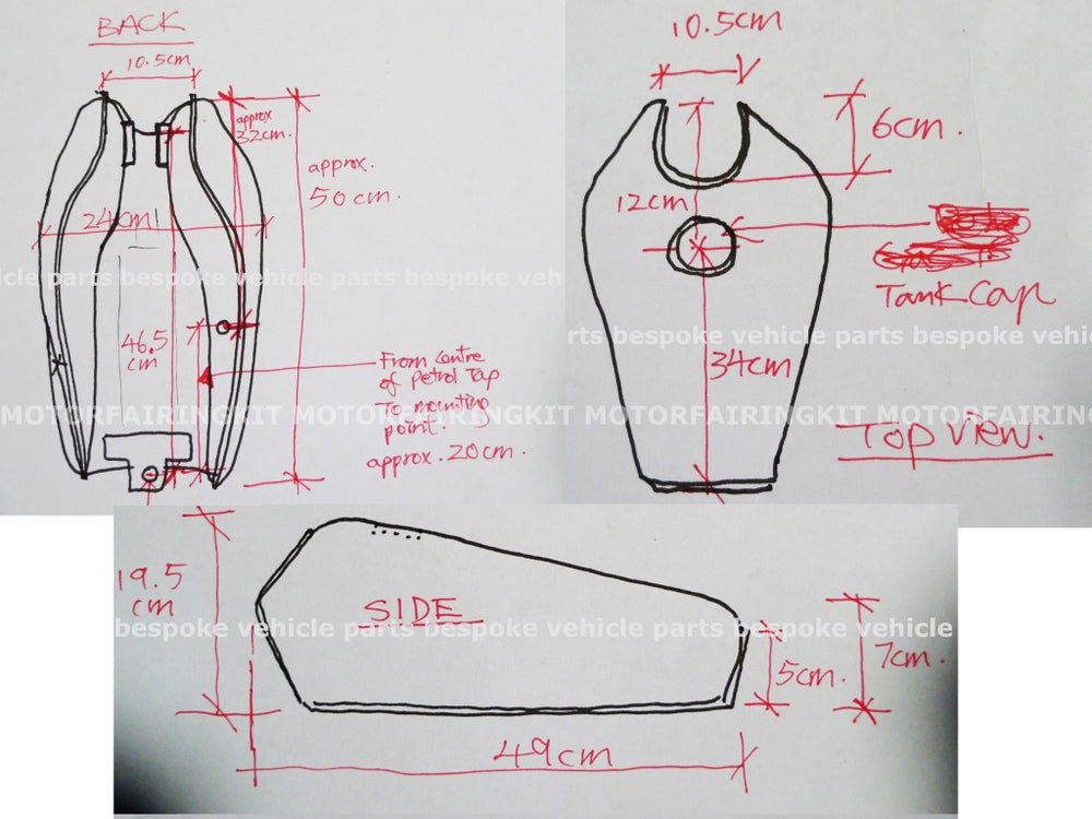 Image of Cafe Racer Honda CG125 / CB125 Fuel Tank/ Plain Green