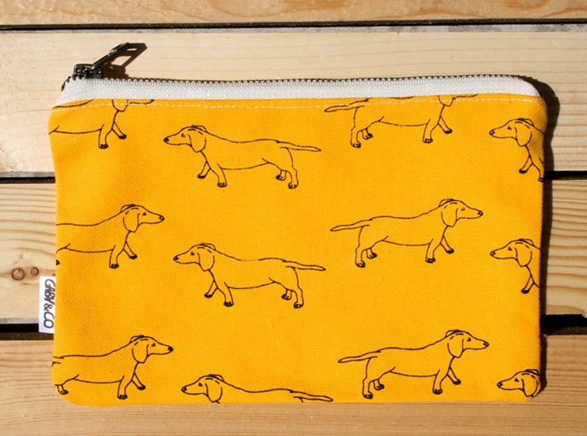 Image of Gaby&Co Yellow Handmade Canvas Dachshund Zip Bag