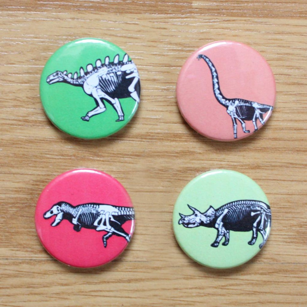 Image of Dinosaur Button Badges / Pocket Mirrors