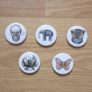 Image of Vintage Illustration Button Badges & Pocket Mirrors