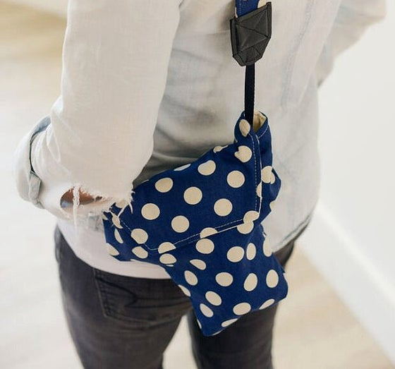 Image of DSLR Camera Bag for Disneyland Navy Polka Dot| Cotton Duck Designer Fabric | Travel Accessory
