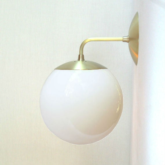 Orbiter 8 Wall Sconce with White Glass Globe / Sanctum Lighting