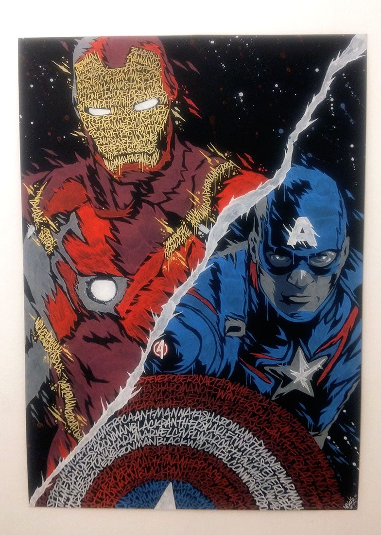 Image of Captain America X Iron Man GRAFFITI