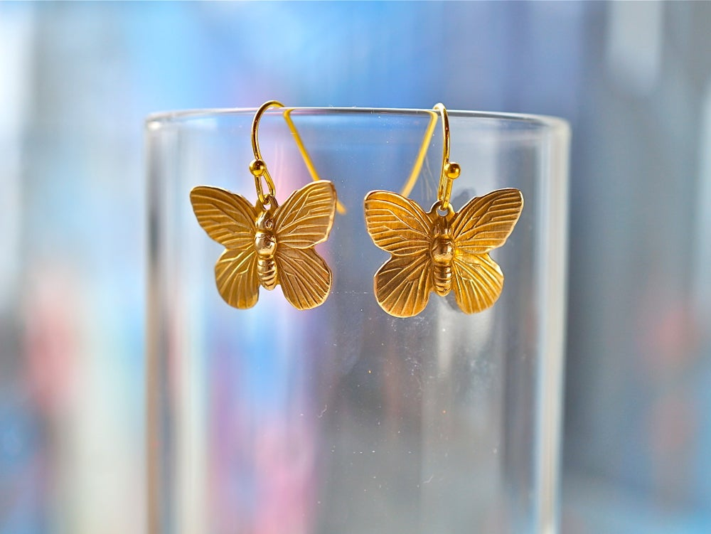 Image of Small gold butterfly earrings