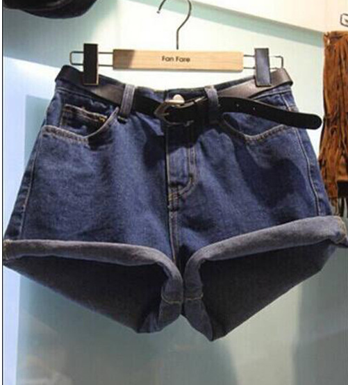 Image of FASHION Curling loose denim shorts female was thin wide leg shorts