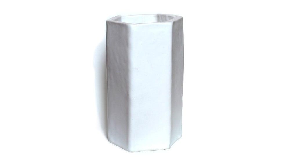 Image of Hand built hexagonal porcelain vase