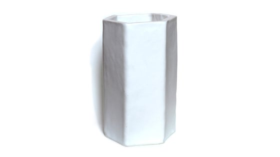 Image of Hand built hexagonal porcelain vase