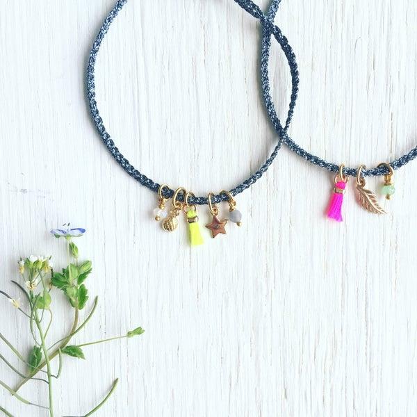 Image of EMY - Bracelet tressé et charms gravés